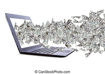 Dollar Banknotes Flying and Streaming on Laptop - Shopping...