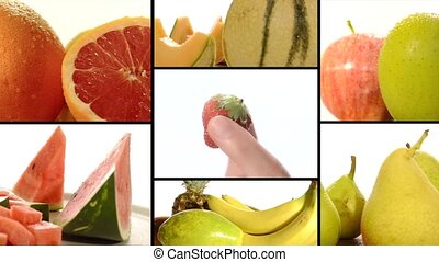 Diverse fruits montage - Healthy food concept