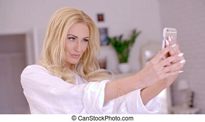 Gorgeous Blond Woman Taking Selfie Photo - Close up Gorgeous...