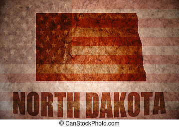 Vintage north dakota map - north dakota map on a vintage...