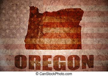 Vintage oregon map - oregon map on a vintage american flag...