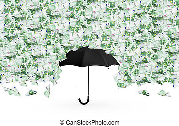 Euro Banknotes Flying and Falling Down on Umbrella - One...