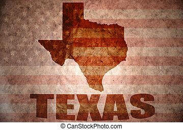 Vintage texas map - texas map on a vintage american flag...
