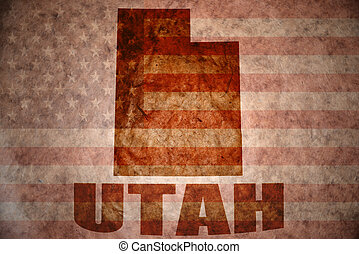 Vintage utah map - utah map on a vintage american flag...