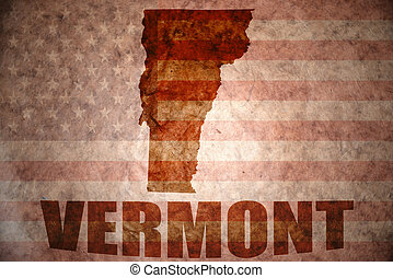 Vintage vermont map - vermont map on a vintage american flag...