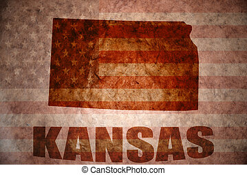 Vintage kansas map - kansas map on a vintage american flag...