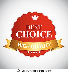 Best Choice Red Label with Ribbon Vector Illustration