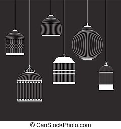 Vintage Birdcages Silhouettes Set Vector Illustration