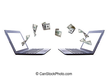 Laptops Transferring Dollar Money - Each laptop transferring...