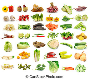 Vegetable collection isolated on a white background. -...