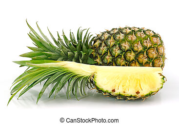 Pineapple slice isolated over white background.