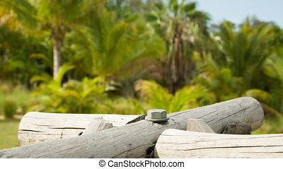 wood structure with green nature background - chunks of wood...