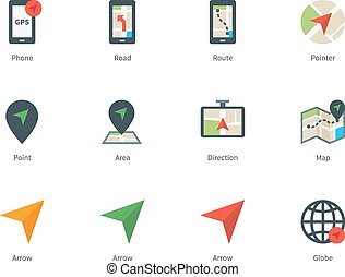 Navigator and GPS color icons on white background -...