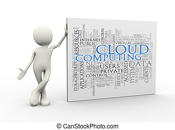 3d man standing with cloud computing wordcloud word tags
