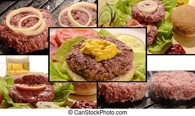 Burger, collage - Collage including raw burgers, cooked...