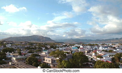 aerial of mahebourg mauritius - looking down on the...