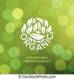 Organic food label on green background