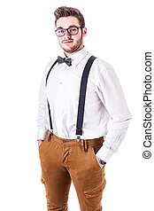 Hipster - a handsome young man or hipster with braces and a...