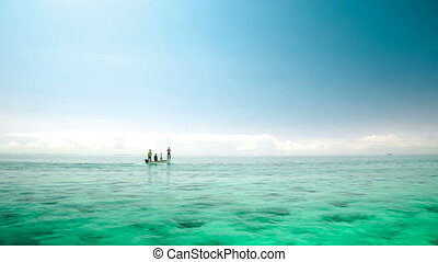 fisher boat in Mauritius sailing in sea - old fisher boat in...