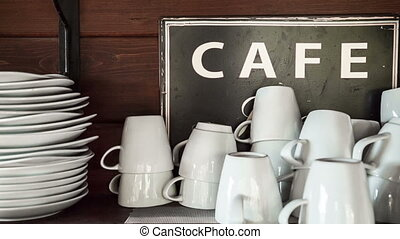 coffee cups with sign in cafe - set of coffe and espresso...