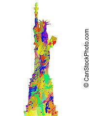 藝術, 美國, 自由, 水彩, 雕像, 印刷品