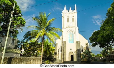 old church in mauritius - old traditional catholic church in...