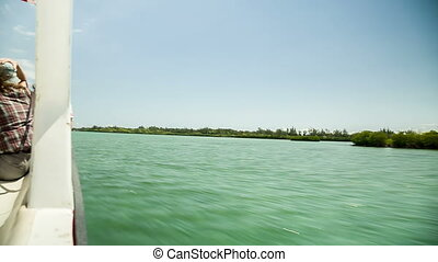 fast boat ride in Mauritius - driving very fast on motorboat...