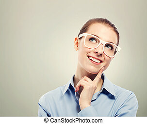 Thinking business woman wearing white eyeglasses - Beautiful...