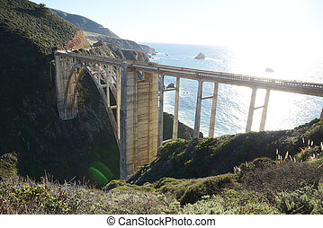 a historic Bixby bridge along coastline california route one