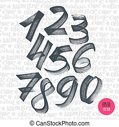 Alphabet numbers digital style hand-drawn doodle sketch...