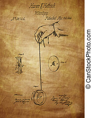 Vintage Yoyo Patent Drawing From 1866. Vintage patent...