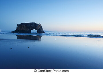 natural bridge in the sea at Santa Cruz, California