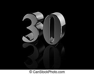 number 30 - black metallic number 30 on black background,...