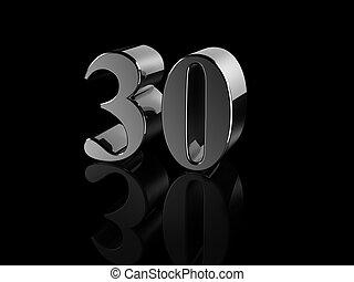 number 30 - black metallic number 30 on black background,...