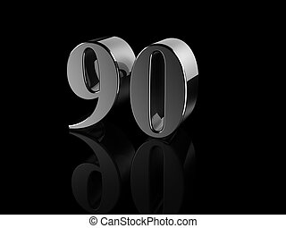 number 90 - black metallic number 90 on black background,...