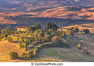 Tuscany Landscape in the Morning - Tuscan Farms in the Early...
