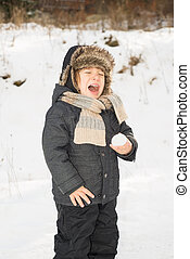 Snowball's too cold! - Toddler boy screaming because holding...