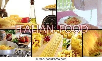 Italian pasta montage - Italian food, pasta collage