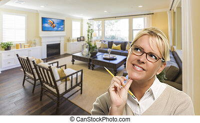 Daydreaming Woman with Pencil Inside Beautiful Living Room -...