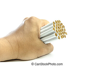 Mans hand crushing cigarettes stop smoking