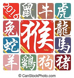Vector Chinese zodiac signs