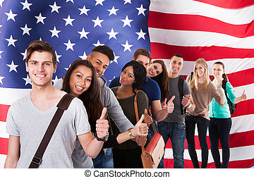 English Classes - Group Of Diverse Students Standing In...