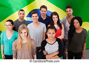Portuguese Classes - Happy Multi-ethnic Group Of People...