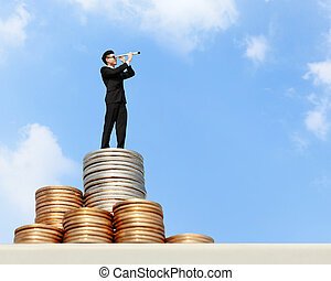 business man stand on money - I want be rich - Business man...
