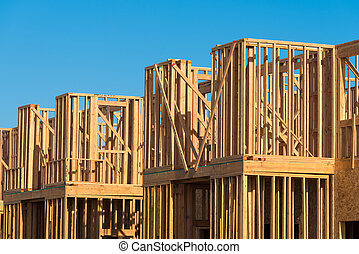New Condominium or apartment construction - Wooden framing...