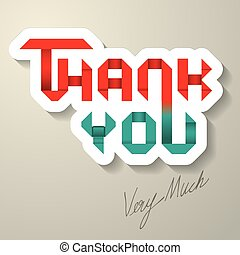Thank You Ribbon Lettering Vector - The Abstract of Thank...