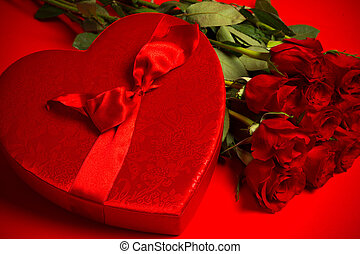 Valentine's day gift - Roses and Candy - Long stem red roses...