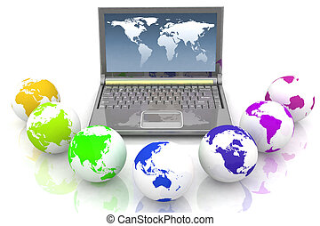 Laptop and globes of all colors of rainbow. Conception global computer network