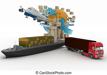 Cargo ship, truck and plane