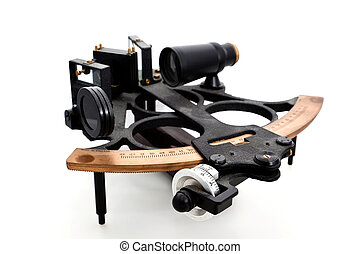 Sextant isolated - Navigational instrument A sextant...